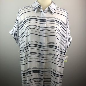 NEW Alfani Striped Blouse Black White Size 18W